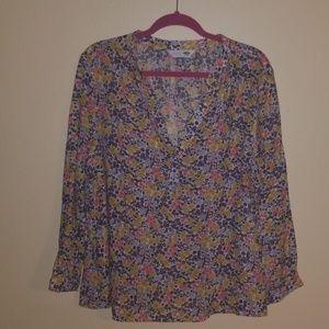 Linen cotton blend long sleeve floral blouse
